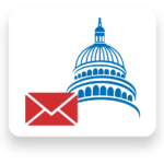 Silhouette of Capitol with an envelope in the foreground