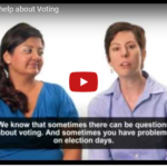 Two women talking about where to get help about voting