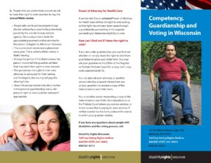 Front side of Guardianship, Competency and Voting brochure