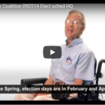 Man in wheelchair explaining election schedule
