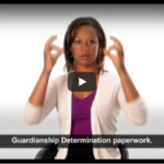 Woman using sign language while talking about guardianship