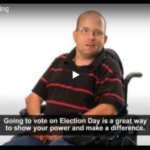 Man in wheelchair talking about voting on election day