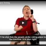 Man in wheelchair talking about accessibility and voting