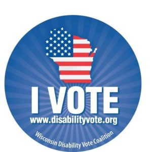 Sticker showing Wisconsin, I Vote, Wisconsin Disability Vote Coalition, www.disabilityvote.org