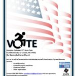 Flyer containing the information about voting rights presentation.