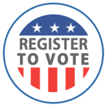 circle button with red white and blue that says register to vote