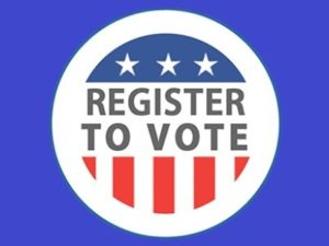 round button with red white and blue that says register to vote