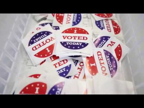 I Voted Today stickers in a basket