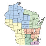 Map of Wisconsin color-coded by congressional district