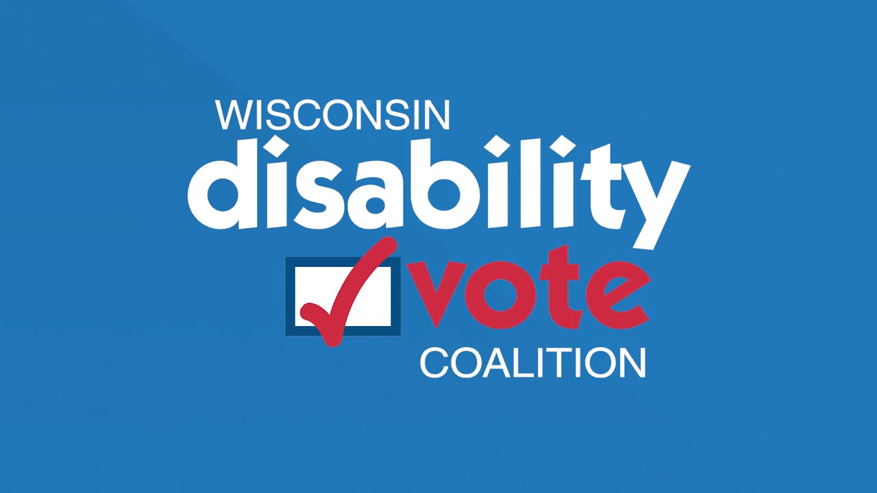 Wisconsin Disability Vote Coalition logo on blue background