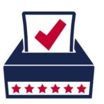 Ballot with checkmark going into box decorated with stars
