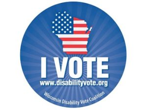 I vote button with image of State of Wisconsin in US Flag pattern