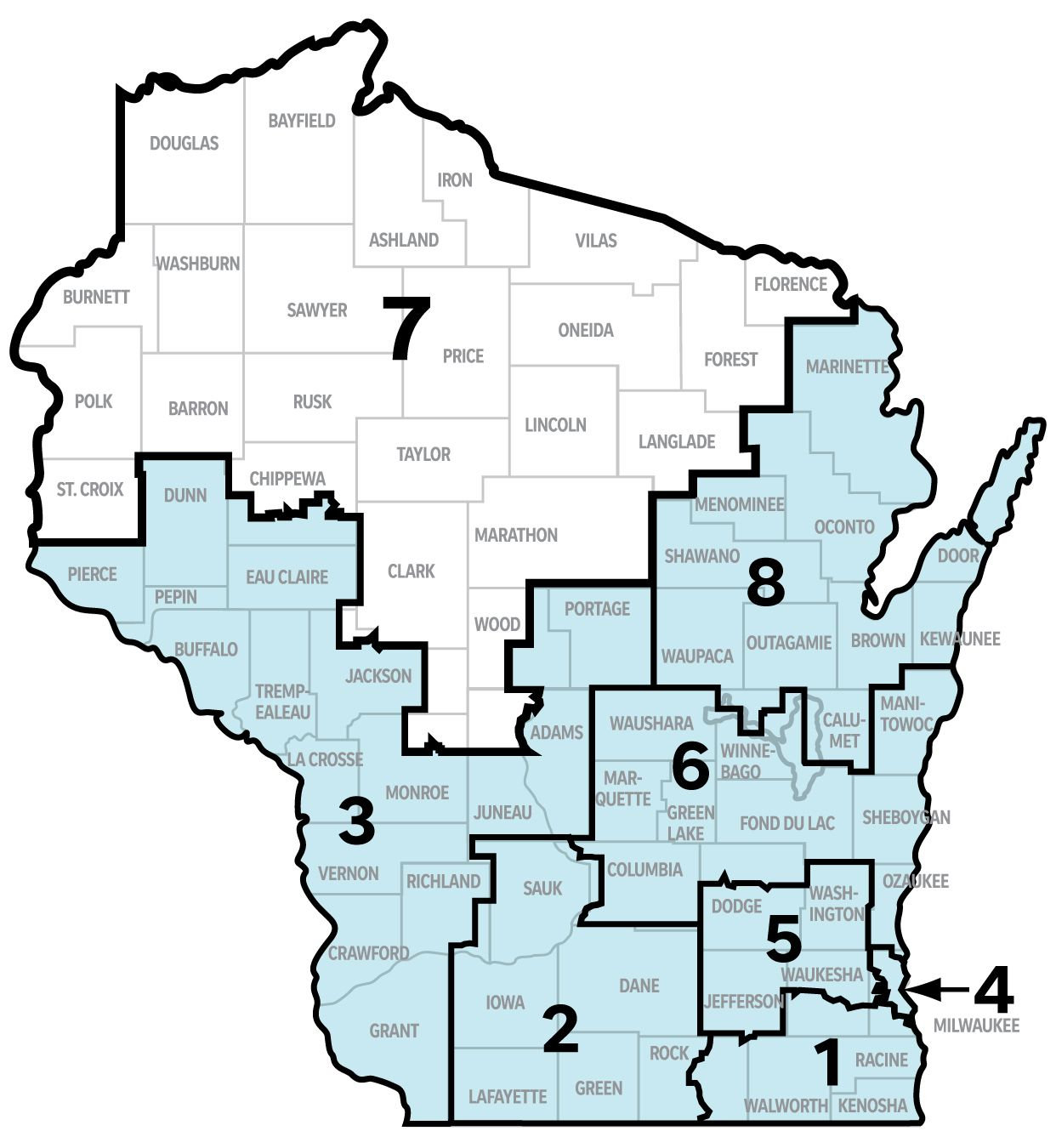 Graphic shows the counties included in Wisconsin's 7th Congressional District: Ashland, Barron, Bayfield, Burnett, Clark, Douglas, Florence, Forest, Iron, Langlade, Lincoln, Marathon, Oneida, Polk, Price, Rusk, Sawyer, St. Croix, Taylor, Vilas, and Washburn counties. Portions of Chippewa, Jackson, Juneau, Monroe, and Wood counties are also in the district.