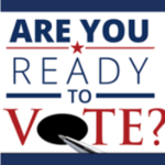 Are you ready to Vote? in red, white and blue with pen hovering