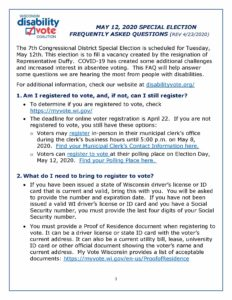 Front page of DVC May 2020 Special Election FAQ