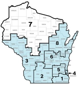 Wisconsin map with District 7 highlighted
