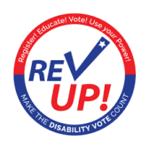Rev Up! logo - Make the Disability Vote Count