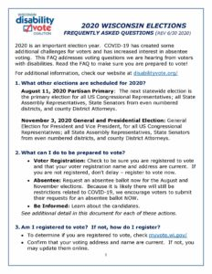 Front page of DVC Wisconsin Elections FAQ - June 2020
