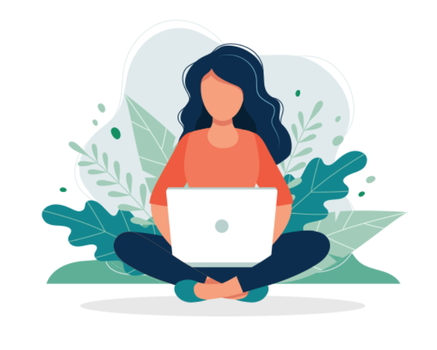 Graphic of a women sitting crossleg and holding a computer