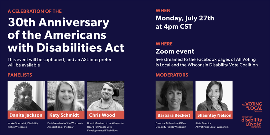 An overview of event details for A Celebration of the 30th Anniversary of the Americans with Disabilities Act. The image includes photos of the three panelists and two moderators, as well as the information listed in this email