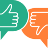 speech bubbles with a thumbs up and a thumbs down