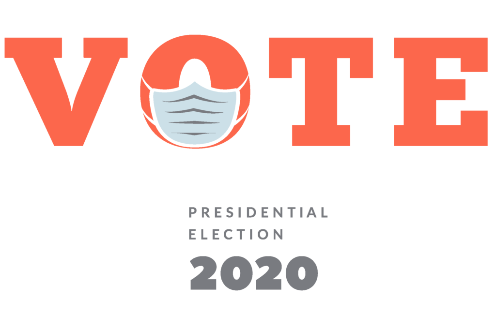 Vote 2020 Presidential Election - the O in Vote is wearing a mask