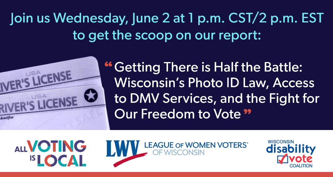 Infographic for Wisconsin Photo ID Law Report Event, featuring two driver's licenses stacked on top of each other; text details are described in the post.