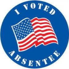 I voted absentee button with American flag