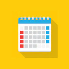 Calendar icon with blue and red dates
