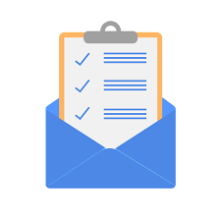 Clipboard sitting in open envelope