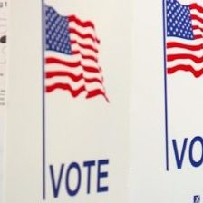 Signs with American flags and the word Vote